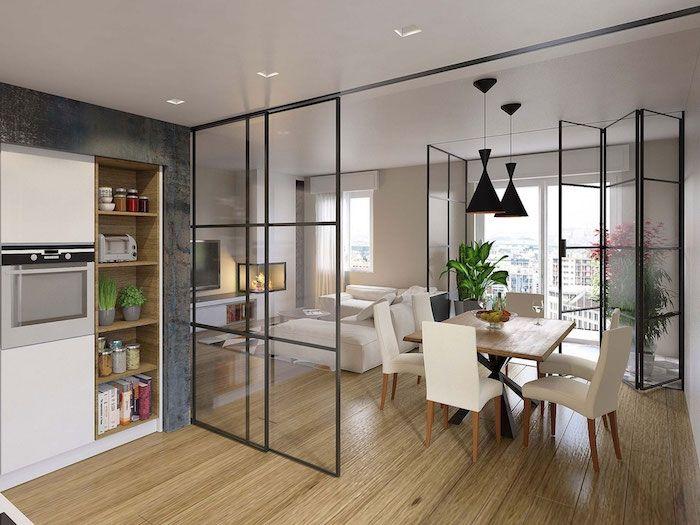S paration cuisine salon coulissez une porte ouverte cocinas separation cuisine salon - Porte verriere blanche ...