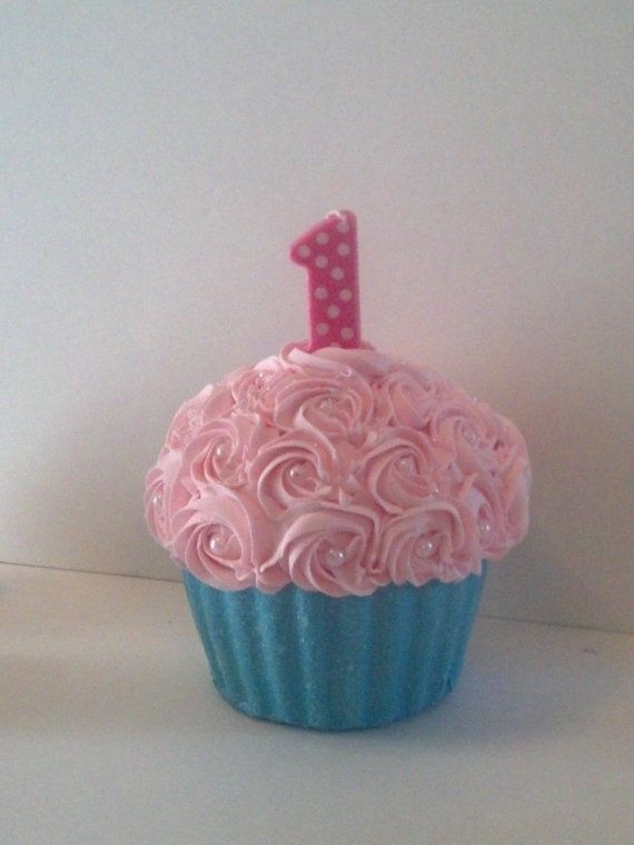 First Birthday Giant Fake Cupcake Photo Prop With Rosettes And Faux Pearls