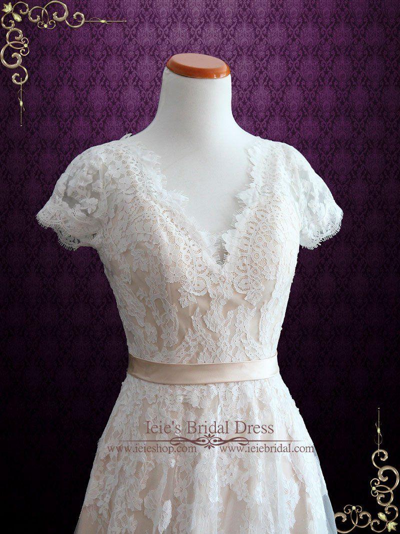 Vintage lace wedding dress with open back amelia pinterest