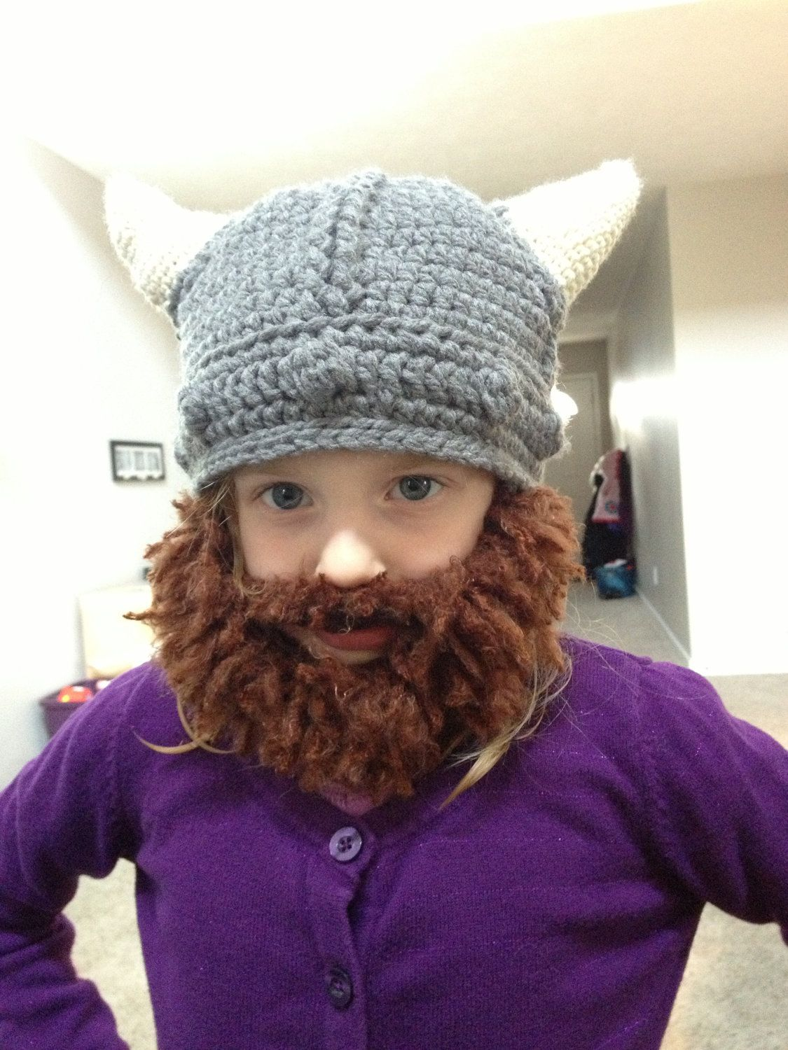 1896984ce Fuzzy Beard Crochet Viking hat. | Crochet hats | Crochet viking hat ...