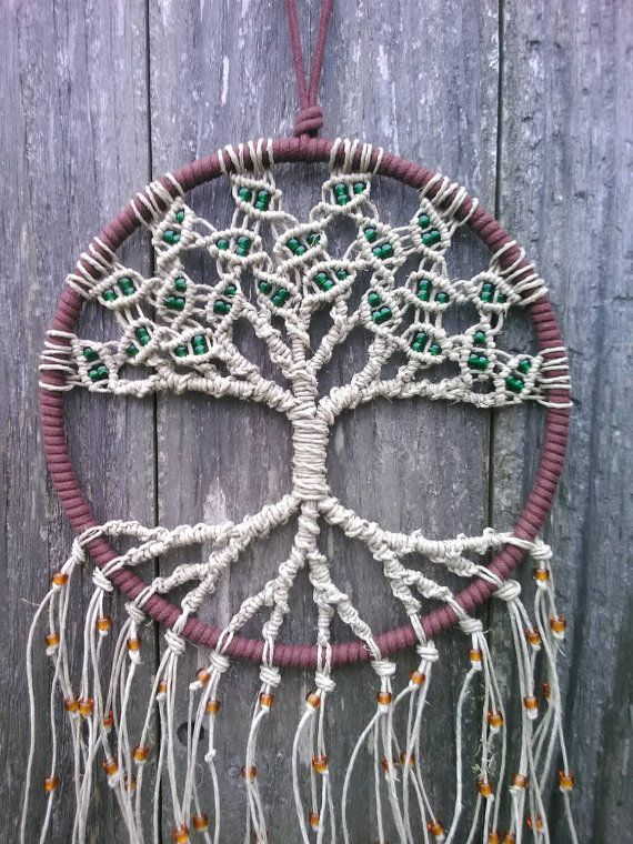 Hemp tree of life dreamcatcher medium macrame wall for How to make a double ring dreamcatcher