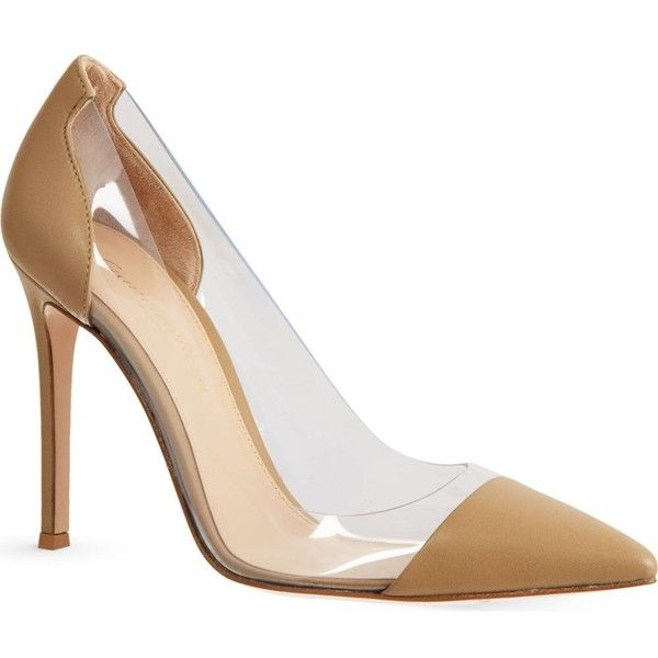 GIANVITO ROSSI Calabria leather courts (4.770 HRK) ❤ liked on Polyvore featuring shoes, pumps, nude, nude high heel shoes, nude high heel pumps, nude shoes, slip on shoes and high heel shoes