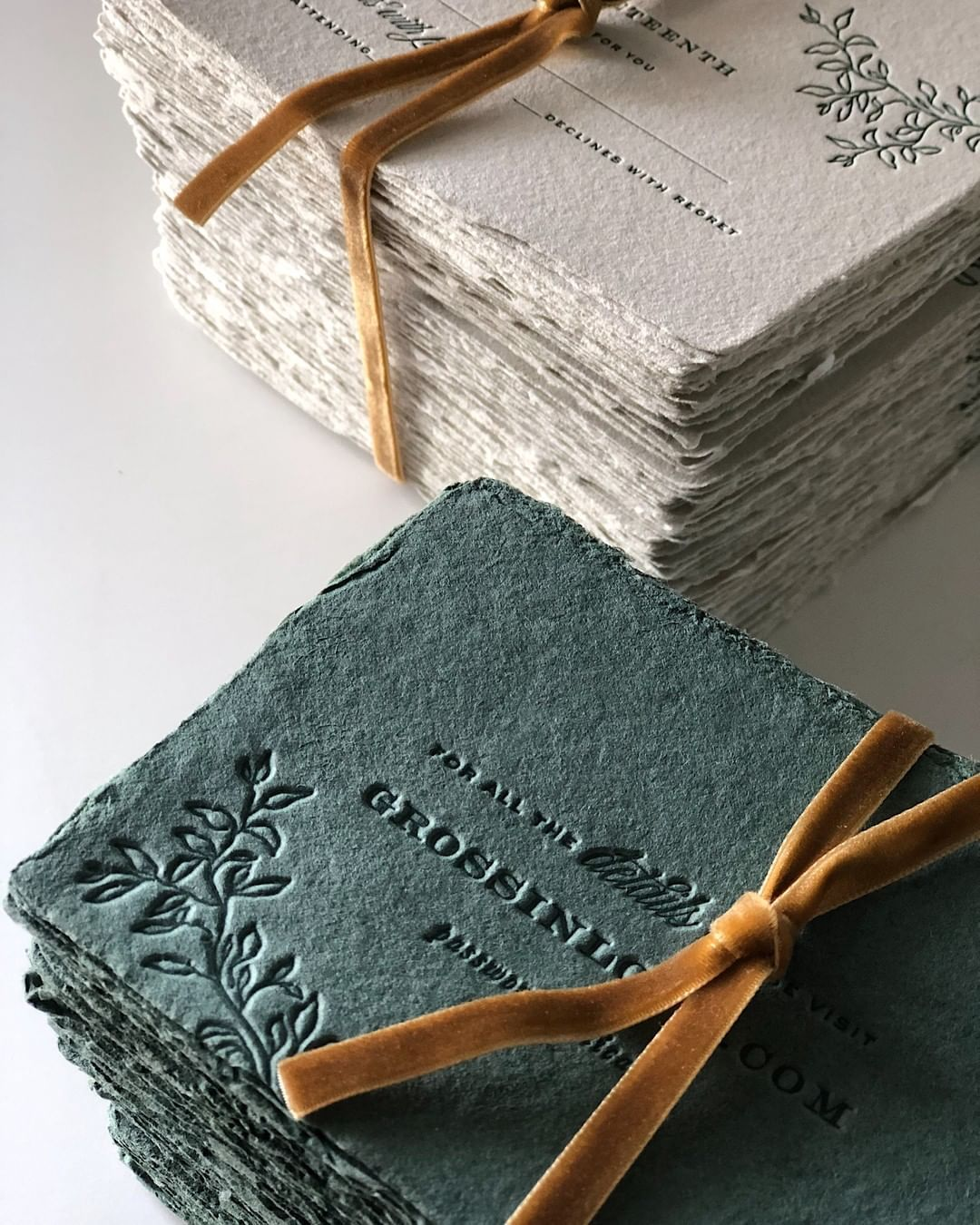 Alaina Cherup On Instagram Happy Wedding Day To Lauren And Michael Still Loving These Deep Green Details Printed In 2020 Handmade Paper Handmade Stationery Handmade