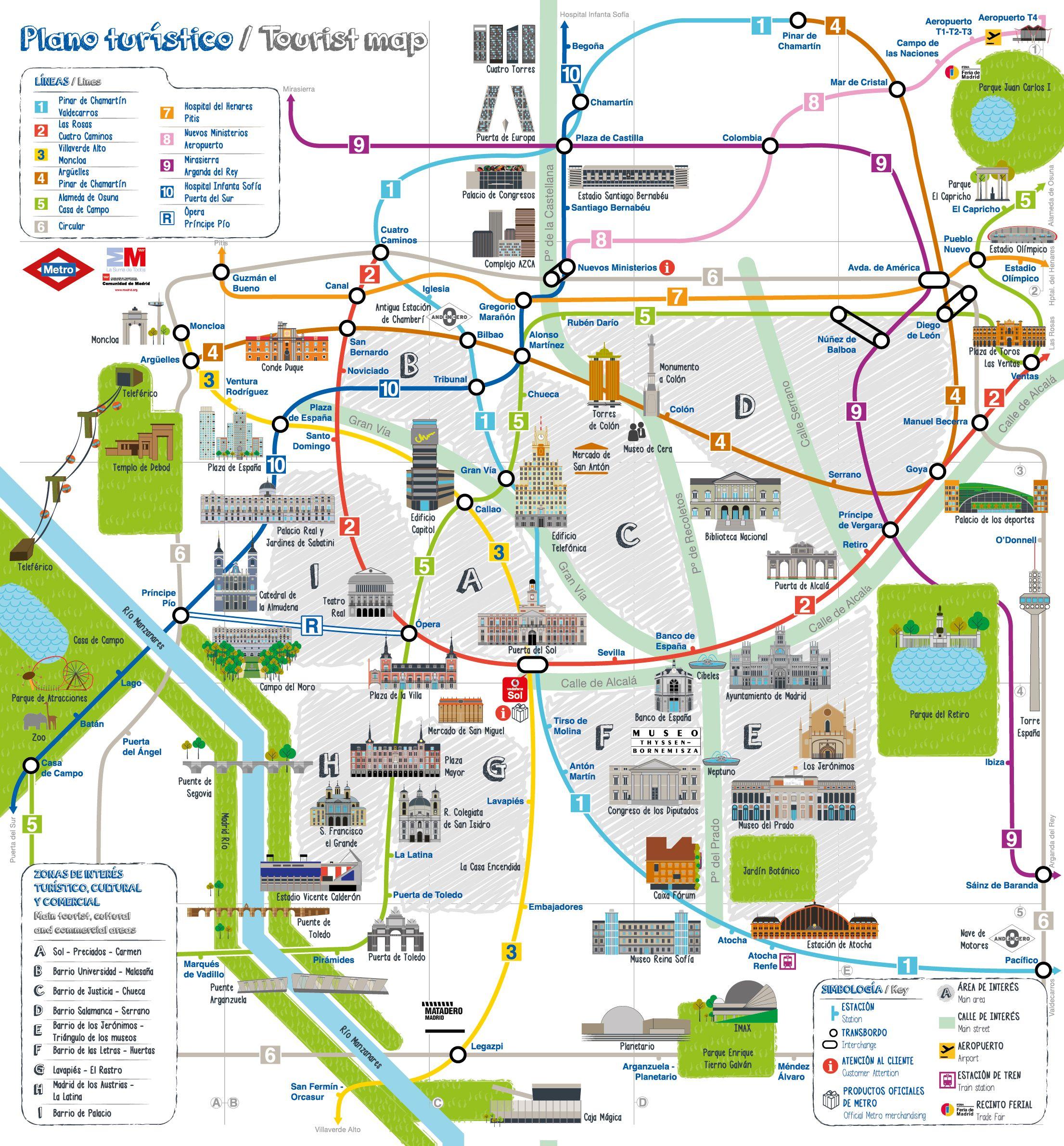 Nuevo mapa turstico del metro de Madrid Espana Pinterest
