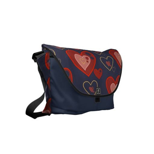 Red Multi-heart pattern messenger bag. customize for different color variations