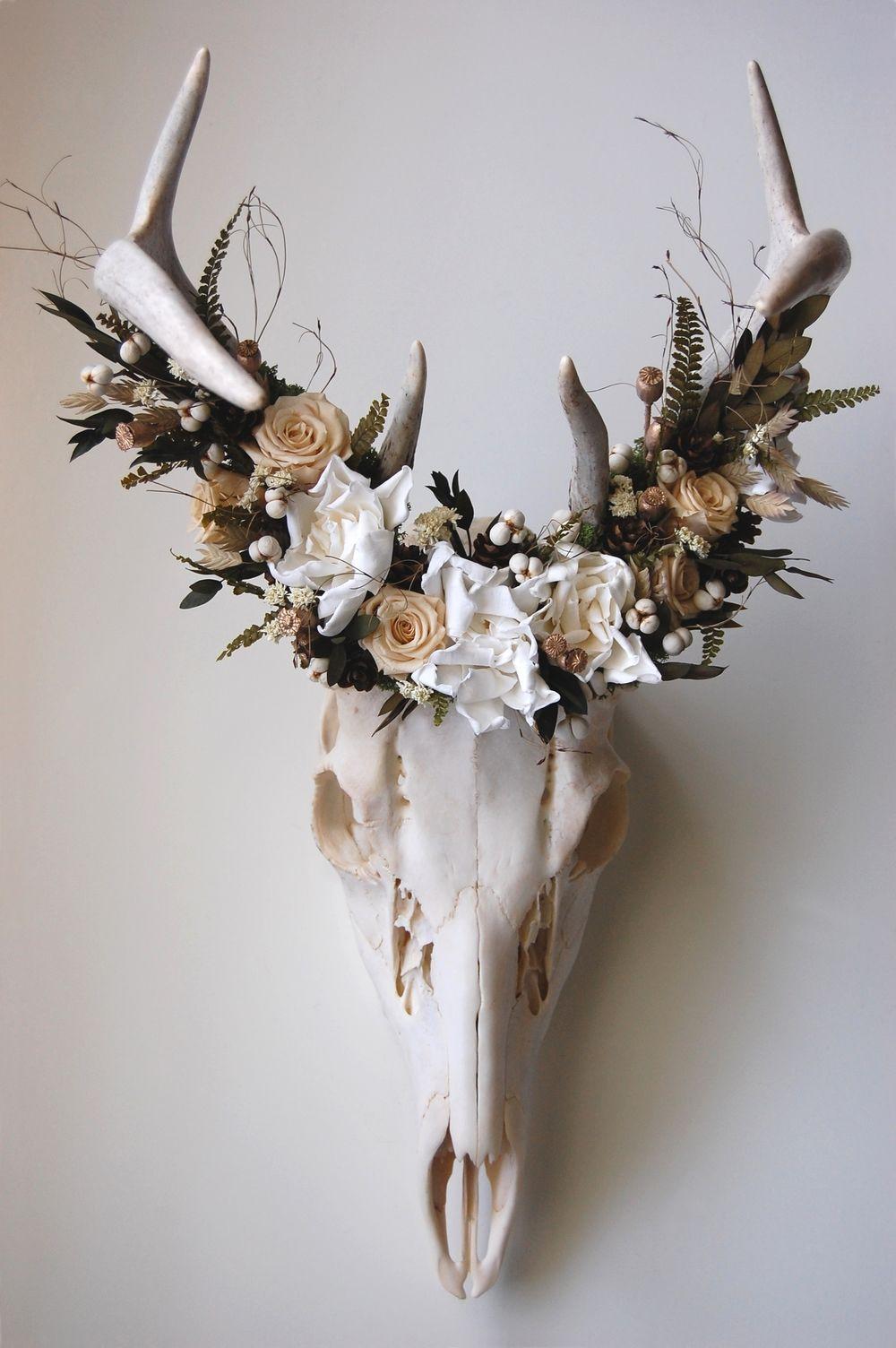 Meghanlacroix Com Deer Skull With Preserved Flower Crown