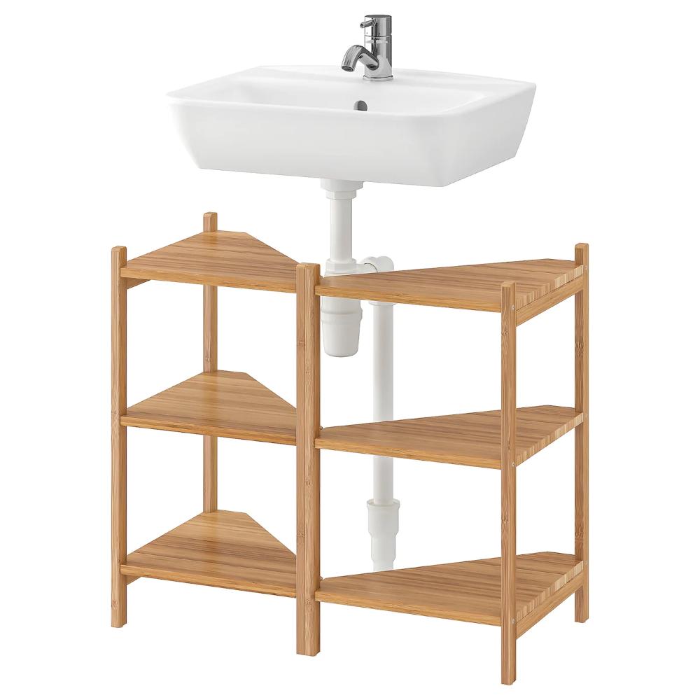 Rågrund Tyngen Wastafel Hoekrek Bamboe Pilkån Kraan Ikea In 2021 Sink Shelf Corner Shelves Ikea
