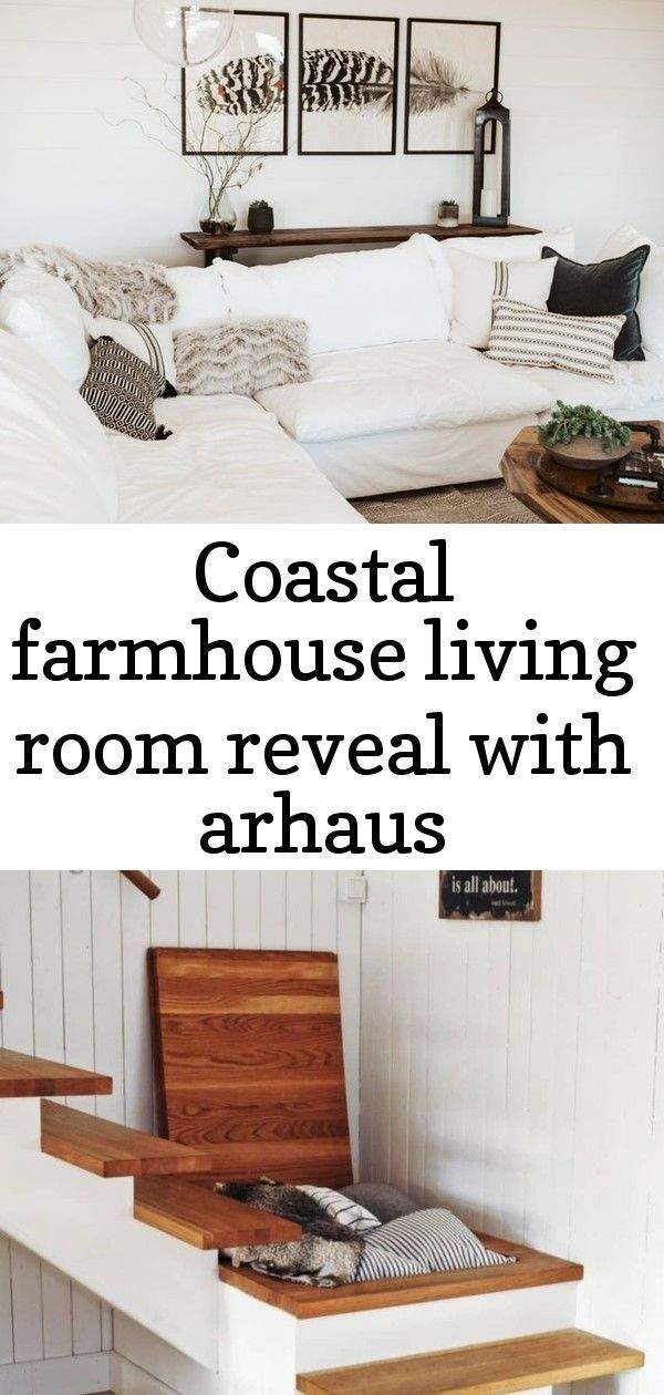 Coastal Farmhouse Design and Decor. Update your home decor to a modern coastal farmhouse style, starting with your living room. This living room overhaul started with renovations - shiplap walls and new paint colors. The interior design came together with beautiful furniture pieces from Arhaus and simple decor ideas to keep flowing throughout the interior. See the before and after photos for inspiration for your home project plans!#CoastalFarmhouse #homedecor#modernfarmhouse #decoridea #coastallivingrooms