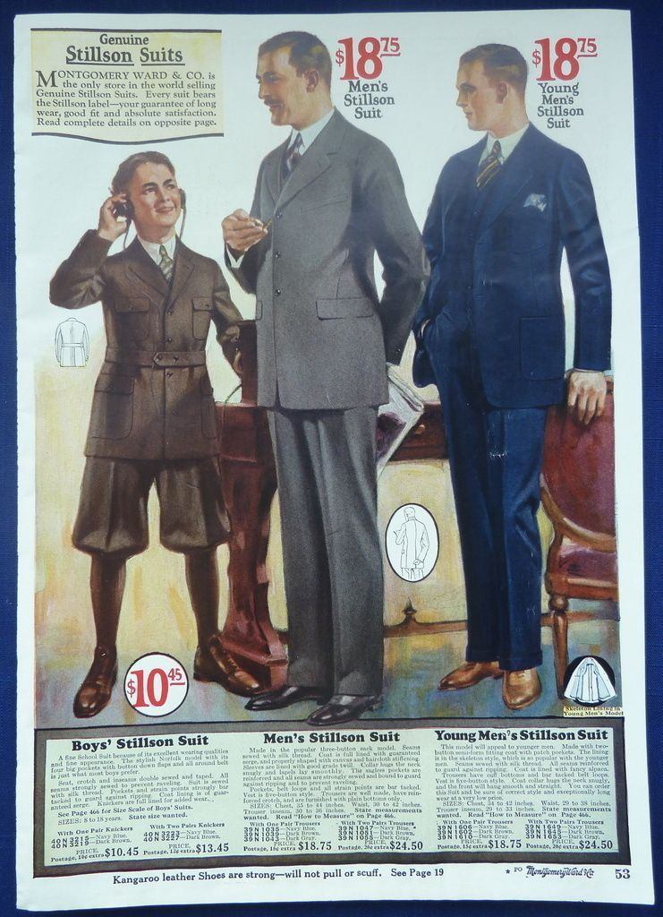 Mens clothes: In the 1920s men wore suits and belts in a business style. These clothes were fairly priced but only for middle class and upper.