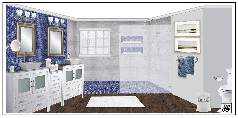 Blue and white tile bathroom Modern farmhouse living room design ...