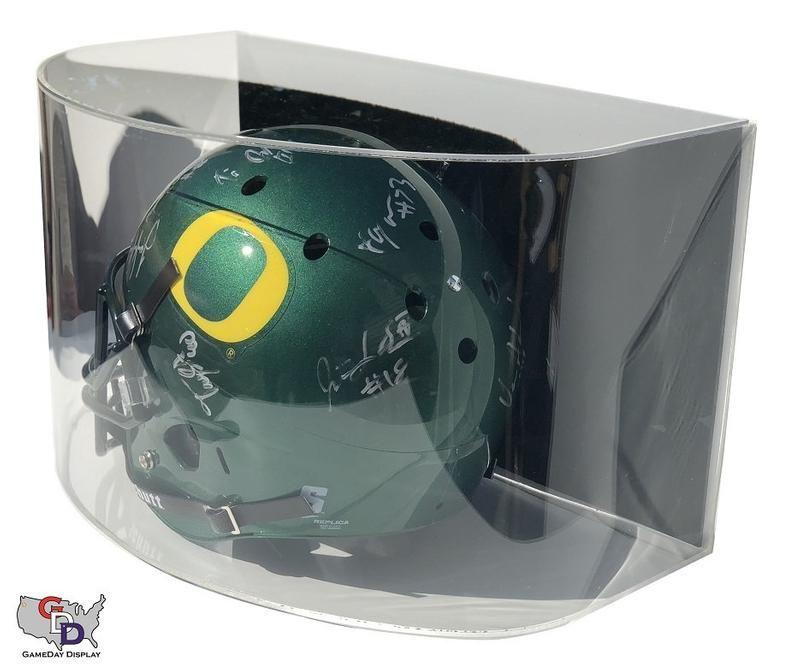Curved acrylic wall mount full sized football helmet