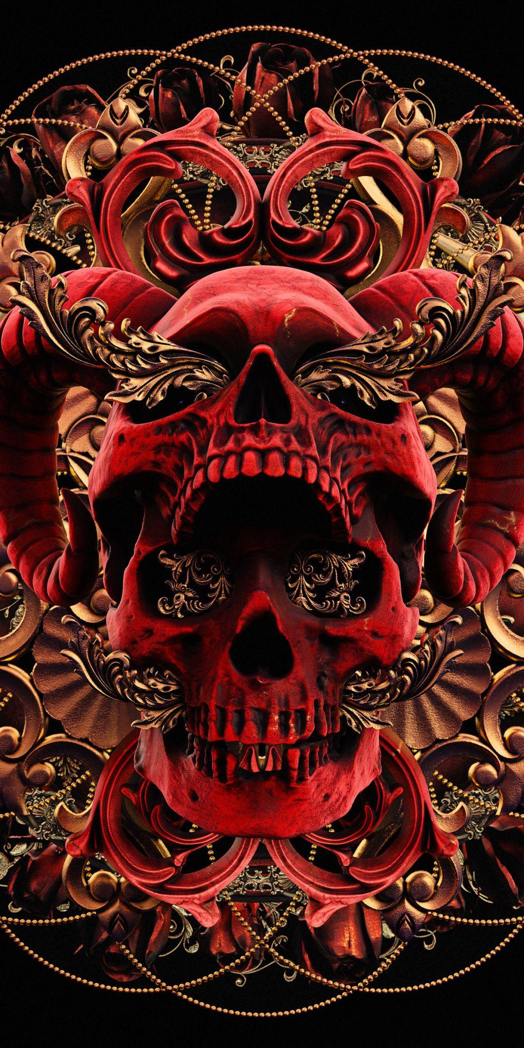 1080x2160 Red Skull Abstract Art Wallpaper Graffiti Wallpaper Iphone Black Skulls Wallpaper Skull Wallpaper