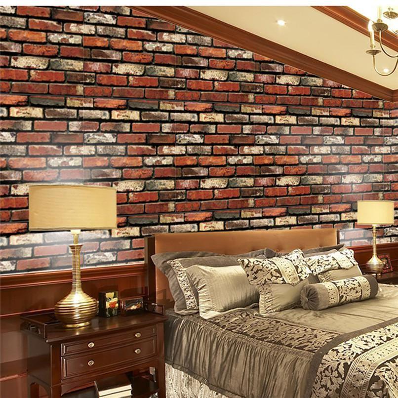 3D Brick Stone Rustic Effect Self-adhesive Wall Sticker Home Bedroom DIY Decor