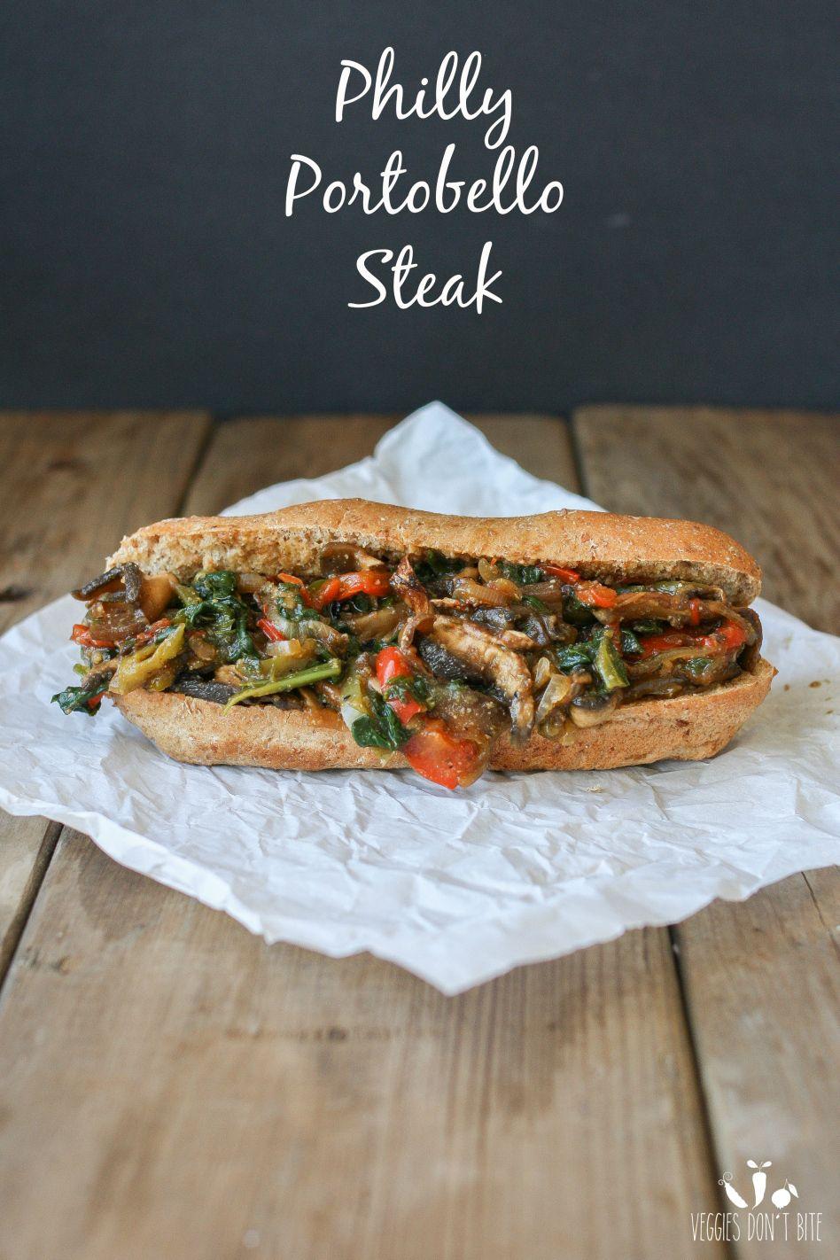 "Philly Portobello ""steak"" sandwich | www.veggiesdontbite.com | #vegan #plantbased #glutenfree"