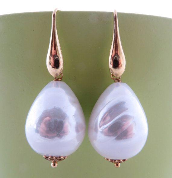 Baroque Pearl Earrings Dangle Golden By Sofiasbijoux