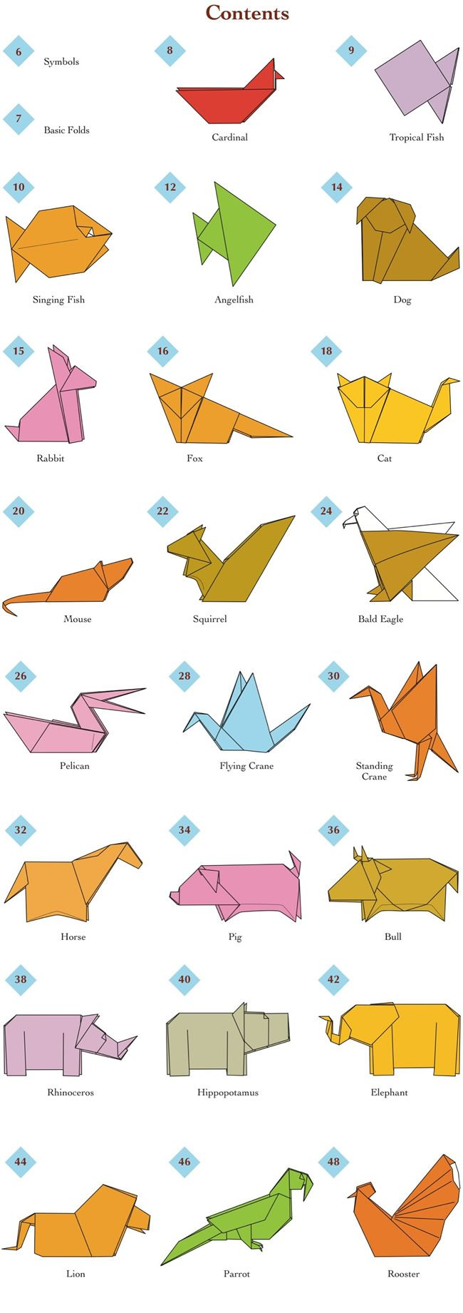 Origami folding flowers stars and animals as nursery room decoration - Easy Origami Animals Page 2 Of 6 Contents