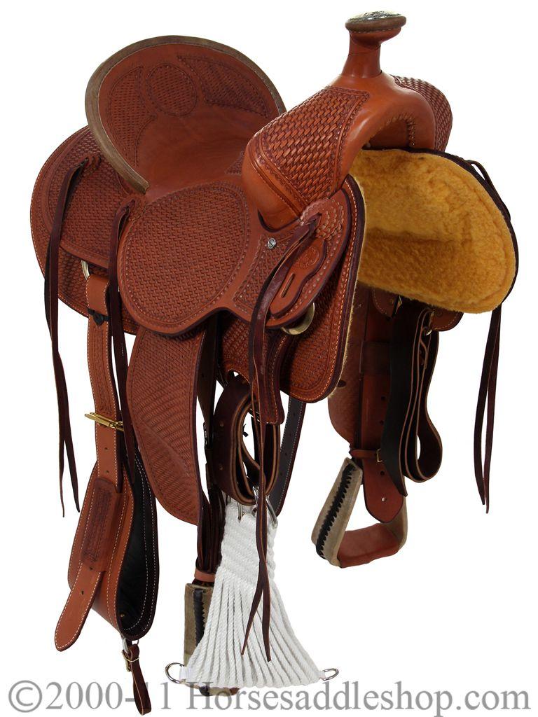 """Silla MONTURA Caballo VAQUERA Selle 14/"""" 15/"""" 16/"""" PIEL Cuero Leather Horse Tack"""