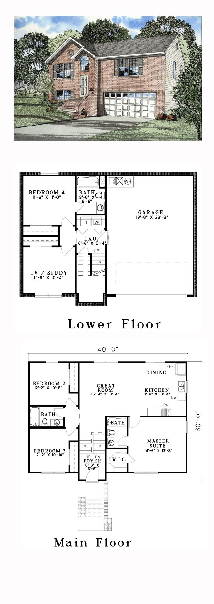 Narrow Lot Style House Plan 61212 With 4 Bed 3 Bath 2 Car Garage Split Level Floor Plans Split Level House Plans Modular Home Floor Plans