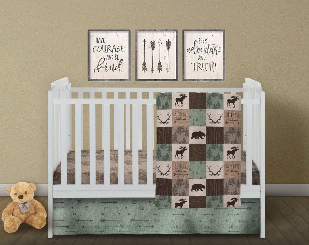 Patchwork Baby Quilt Crib Bedding Set Woodland Baby Quilt Crib Sheet Skirt Rustic Baby Quilt Moose B Rustic Baby Quilt Woodland Baby Quilt Baby Patchwork Quilt