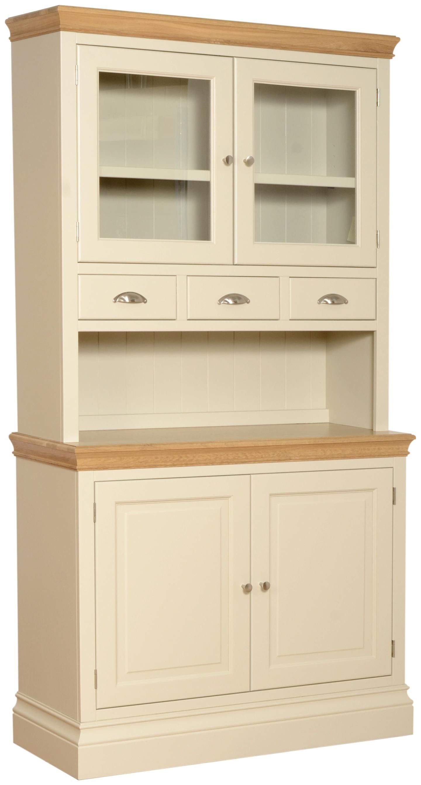 Emily 2 Door Sideboard With Gl Doors And E Drawers Painted Ivory Oak Tops