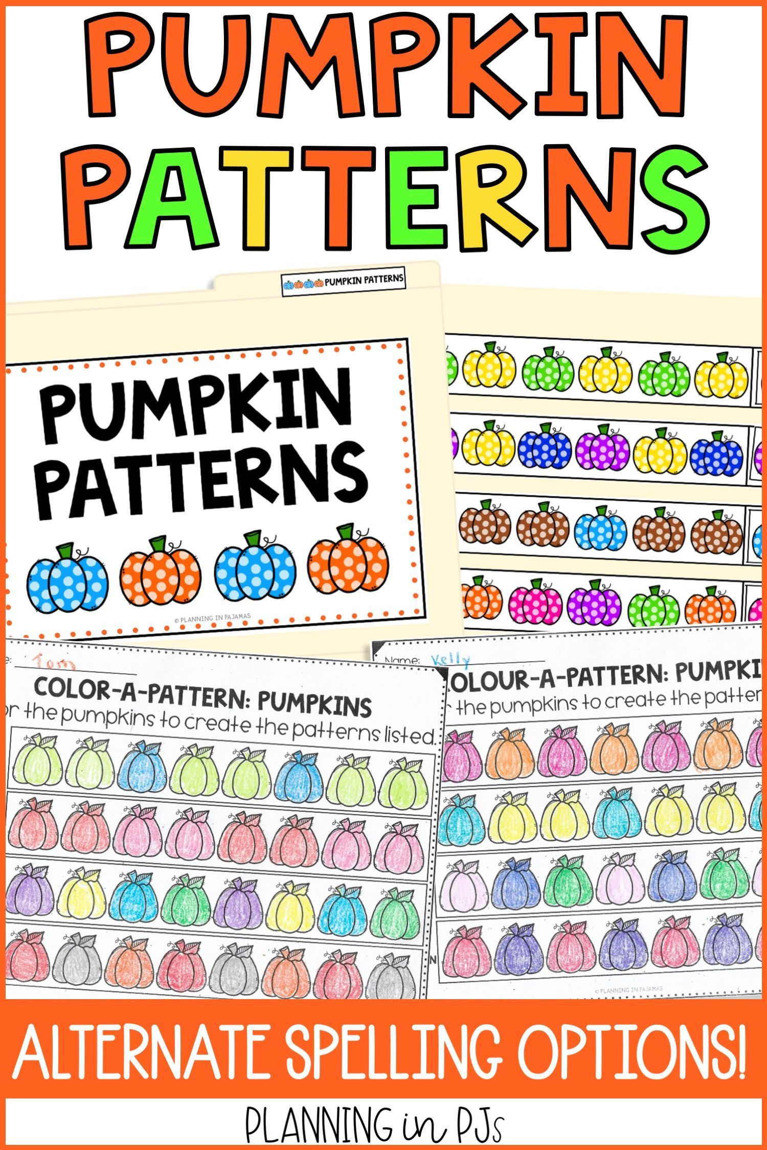 Pumpkin Patterns Worksheets File Folder Game