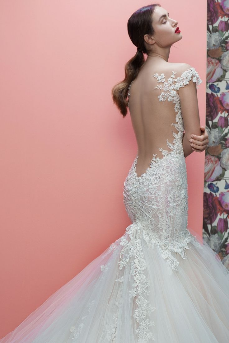 A closer look at the French lace and beaded floral detailing of the ...