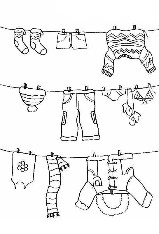 Pictures Color The Winter Clothes Coloring PAges