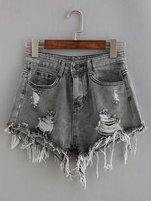 cebbdf7331a259 Denim Shorts mit Fransen und zerrissenen Designs -grau | Schuhe ...