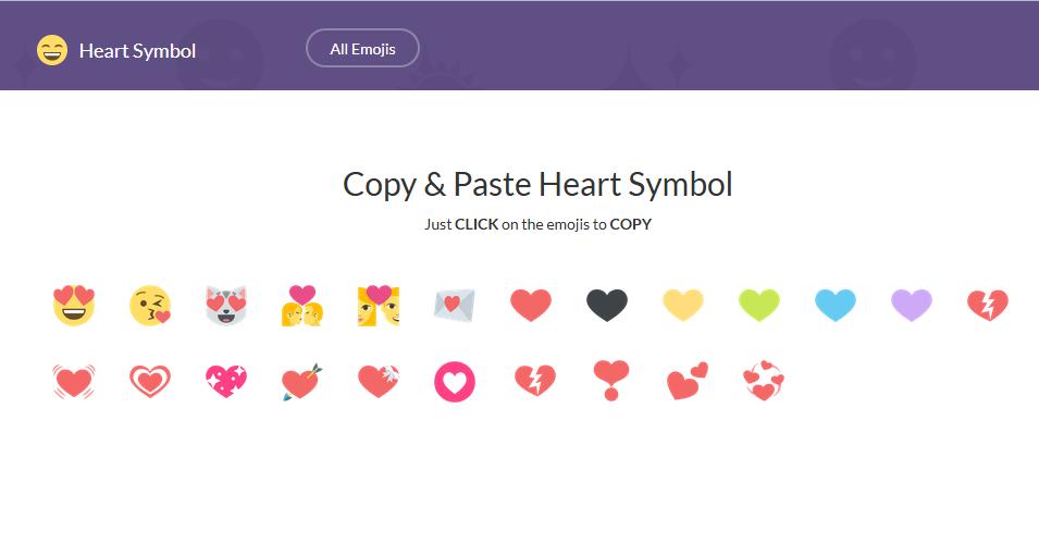 Copy Paste Heart Symbol Hearts Pinterest Emoji Copy Symbols