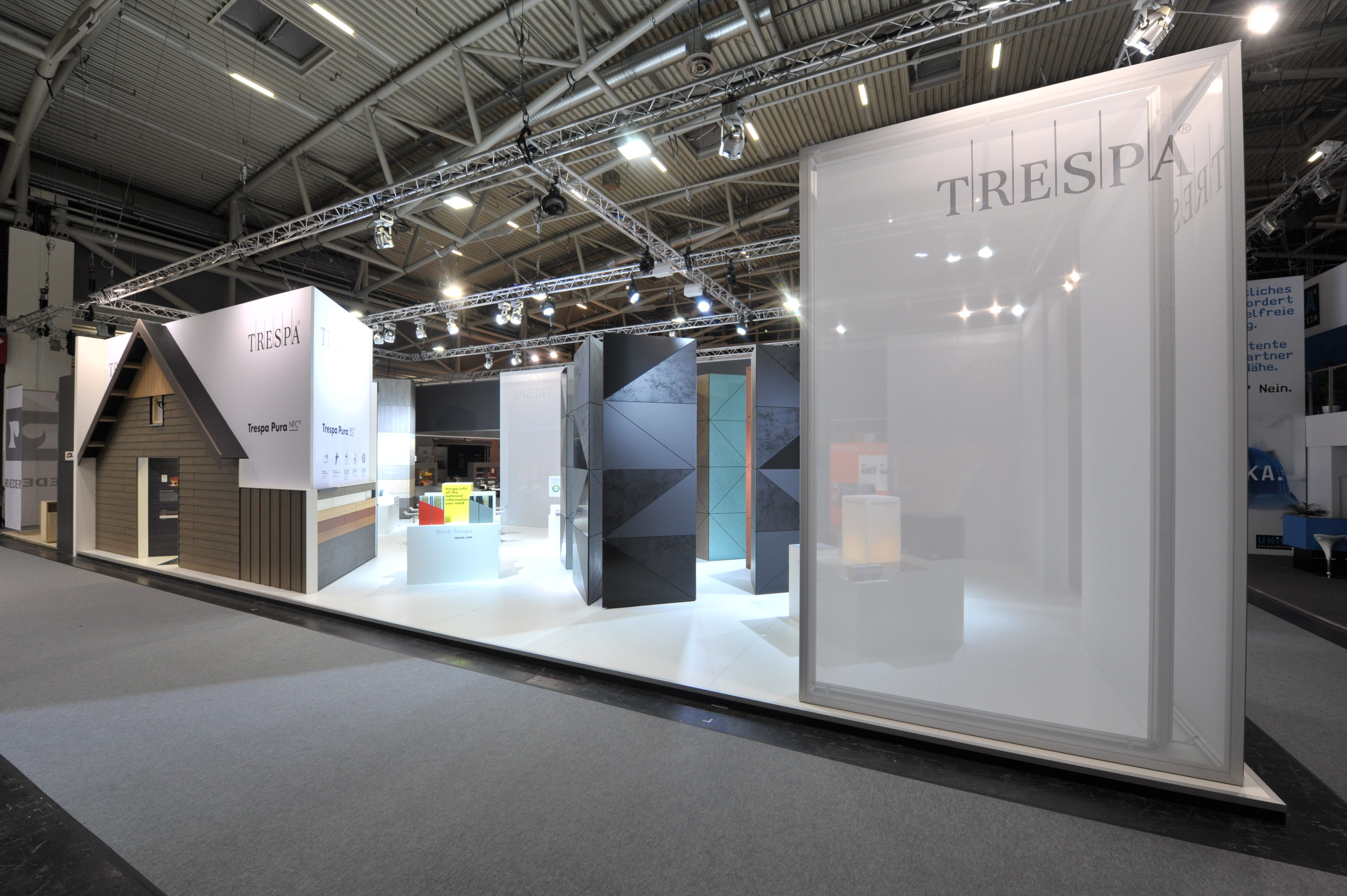 Fabric Exhibition Stand Lighting : Trespa stand at bau temporary exhibition booth design
