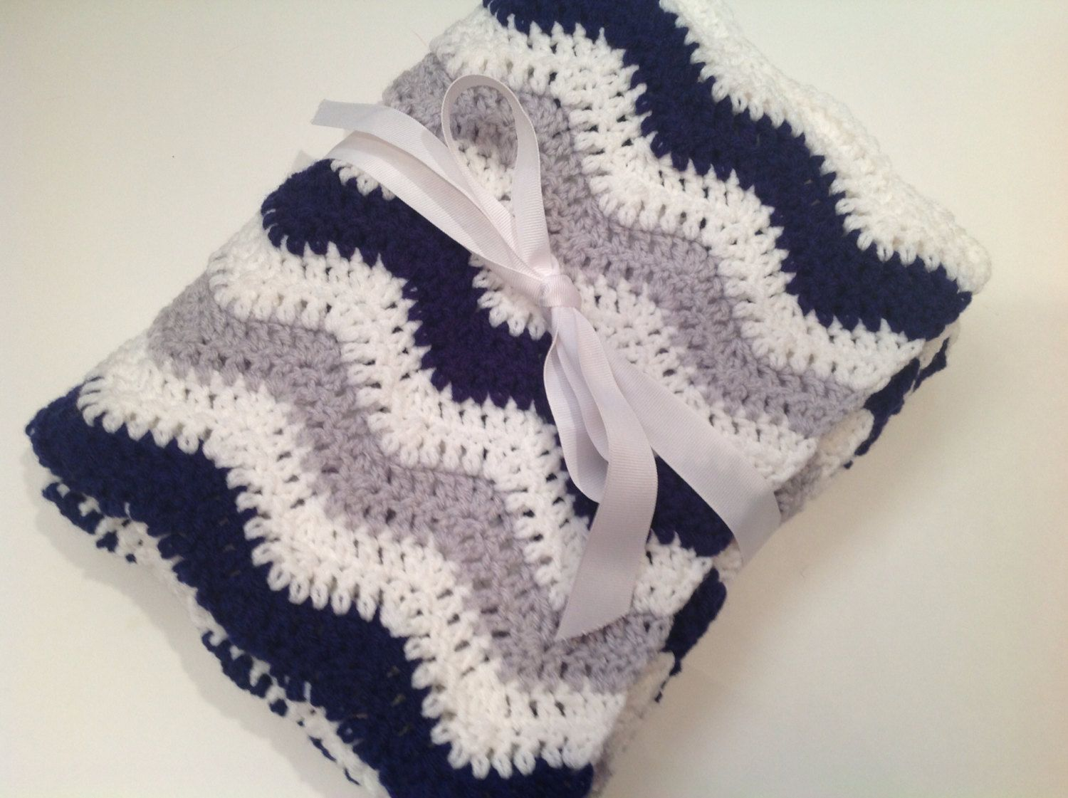 Baby blanket crochet light gray navy blue white ripple chevron blanket