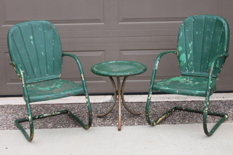1950s Vintage Retro Steel Patio Chair Set Lawn Chairs By Riverjim