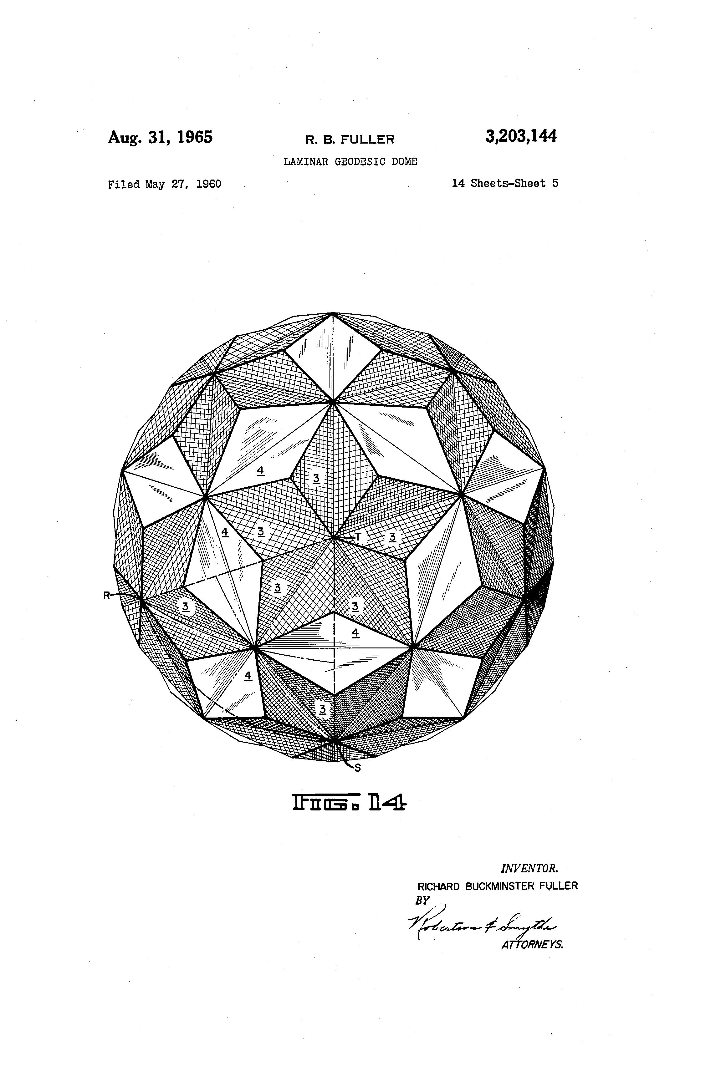 Buckminster Fuller: Patent US3203144 - Laminar geodesic dome