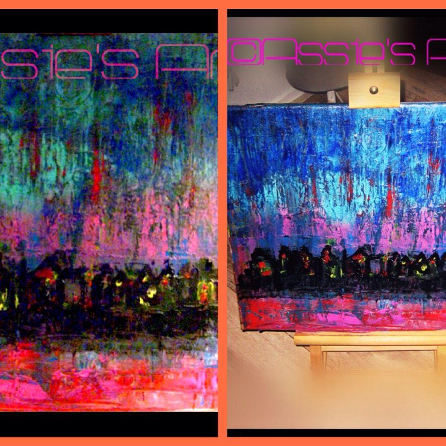 "Oil/Acryl Painting  ""City Evening"""