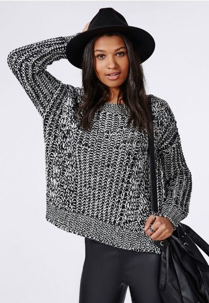 f4b1d64b346f Anouska Cable Knit Slouch Sweater Monochrome