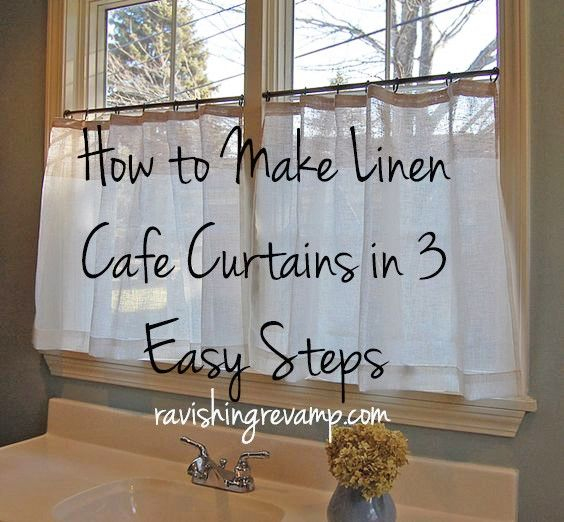 How To Make Linen Cafe Curtains In 3 Easy Steps In The Plaid I Posted And Only Do It 1 2 Way Up Cafe Curtains Kitchen Cafe Curtains Kitchen Window Curtains