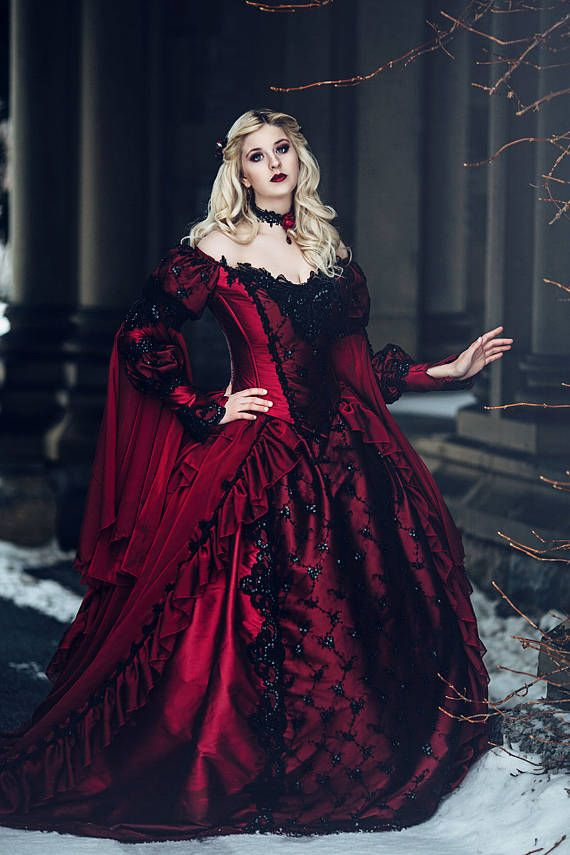 8c701ac4b59 Gothic Halloween or Winter Wedding Sleeping Beauty Red and