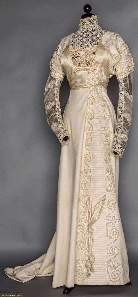 Cream Wool Evening Wedding Gown 1908
