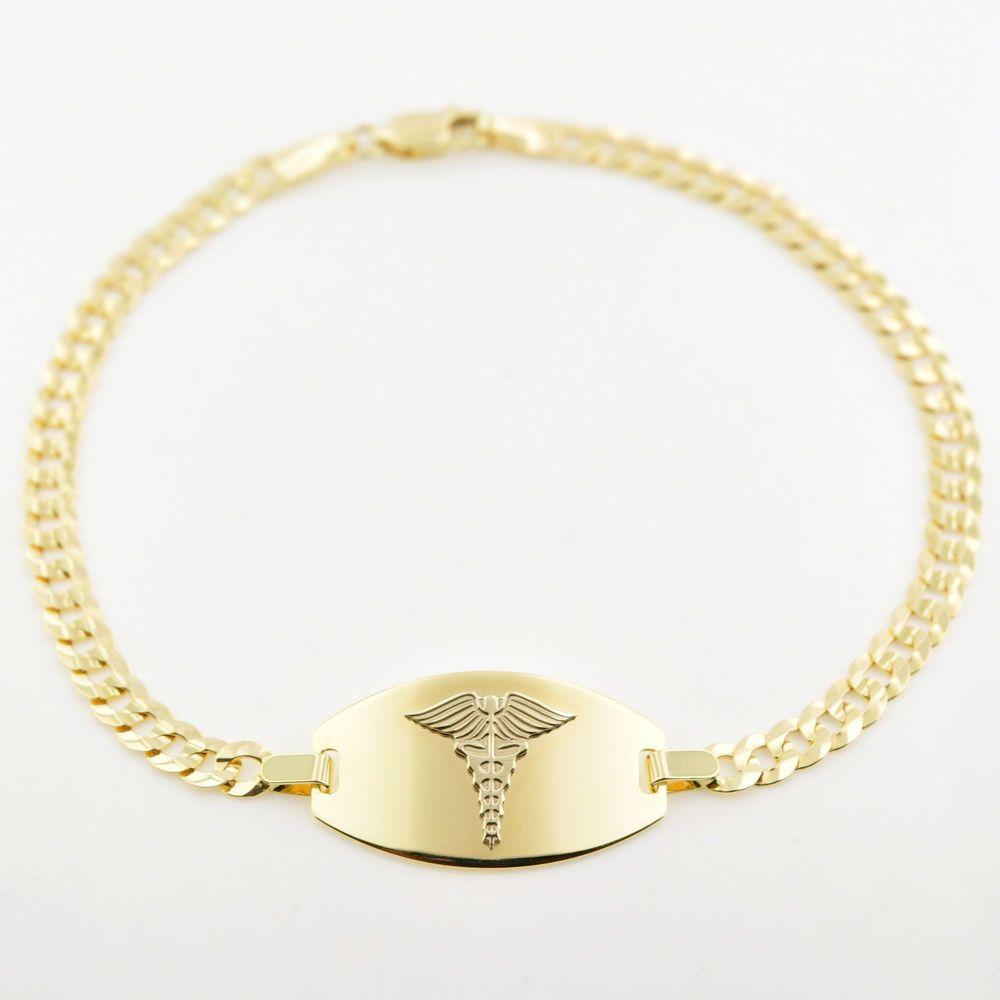 New 10k Solid Gold Medical Medicalert Medic Id Alert Bracelet 7 75 Free Engrave