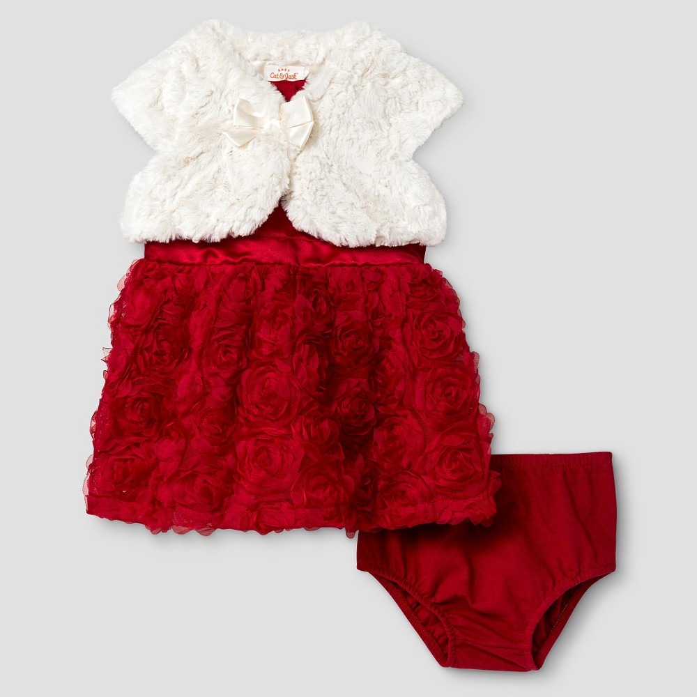 580264d2e Baby Girls  Rosette Dress and Faux Fur Shrug Set Baby Cat   Jack ...