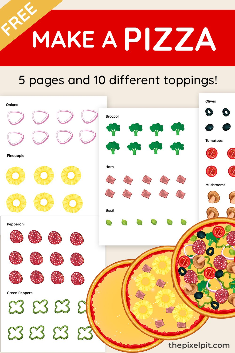 Free Printable Make A Pizza Kids Craft Boredom Busters For Kids Printables Free Kids Free Printable Activities [ 1500 x 1000 Pixel ]