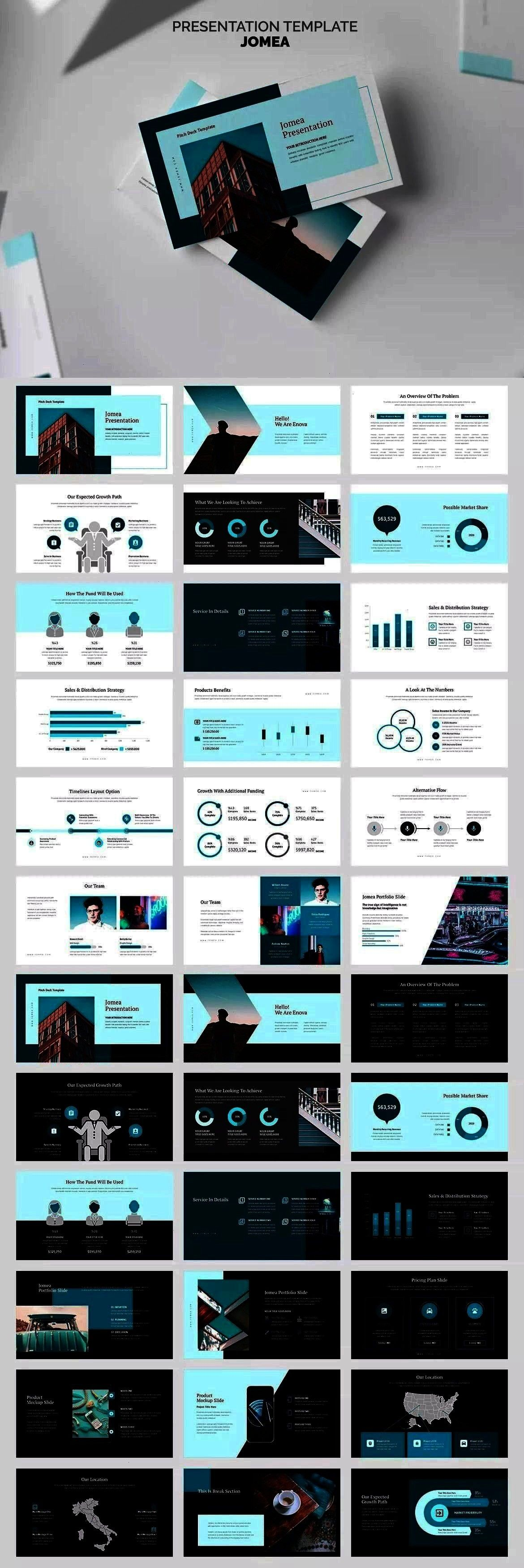 Pitch Deck Powerpoint Presentation Template  Jomea  Cyan Color Tone Pitch Deck Powerpoint Presentation Template  100 presentation slides in Jomea  Cyan Color Tone Pitch D...