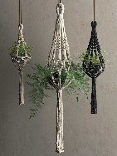 macrame hanging pots with plants 3d model max obj mtl fbx c4d 1  macrame hanging pots with plants 3d model max obj mtl fbx c4d 1