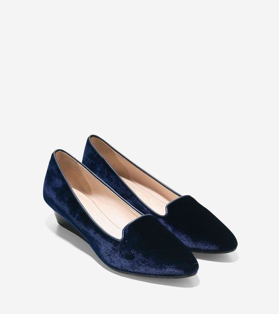Shop women's Tali Luxe Smoking Slippers Wedges in blazer blue velvet at Cole  Haan and see our entire collection of women's shoes.