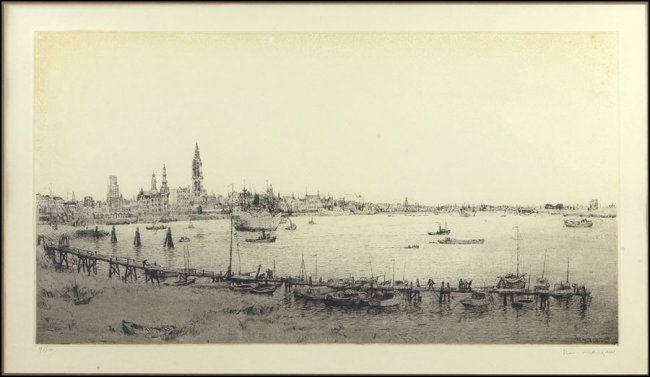 ROMAIN MALFLIET (BELGIAN, 1910-2006) THE SHORE AT ANTWERP. Lot 149-6158 #etching