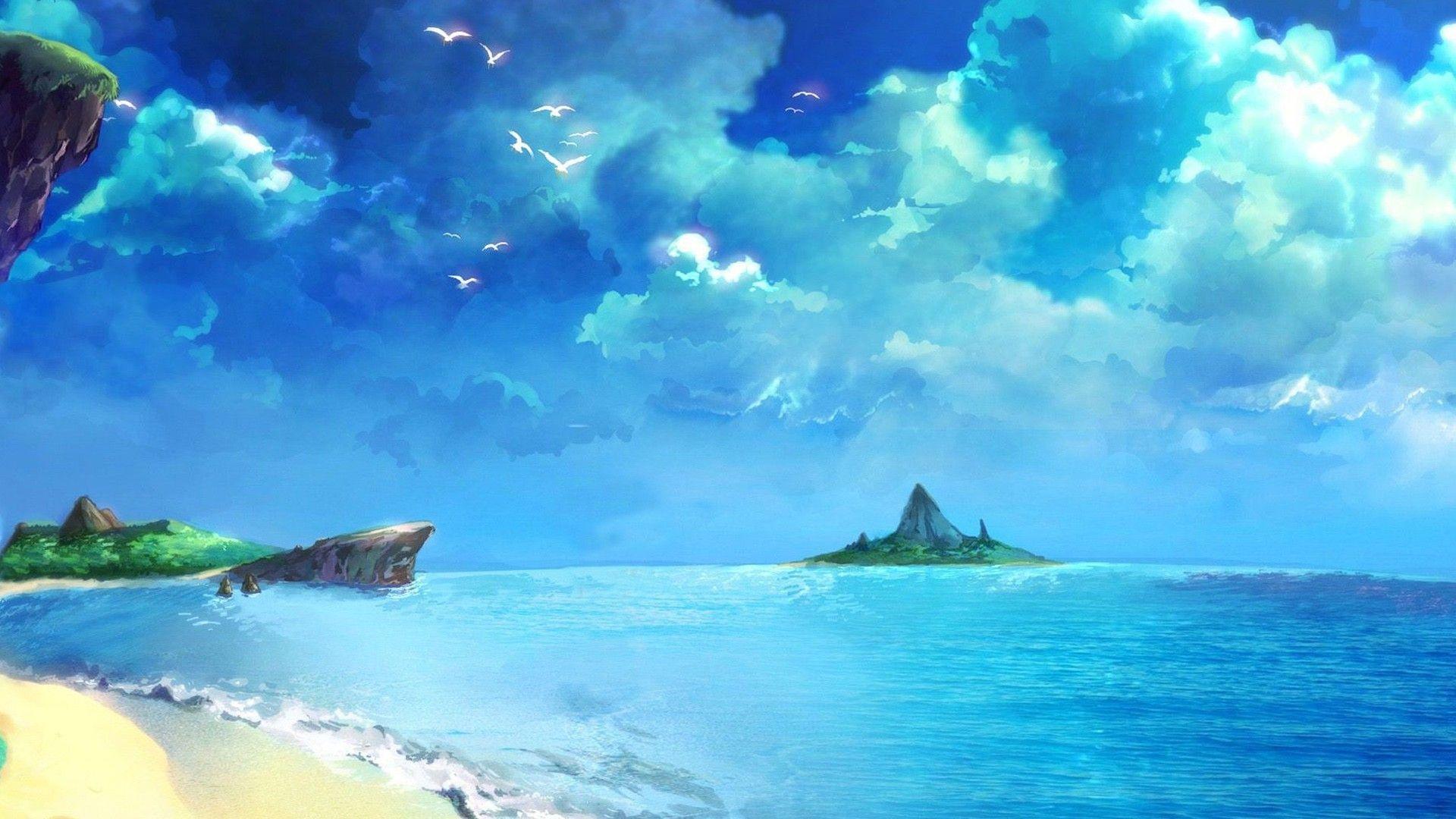Chrono Trigger Beach Drawing Blue Ocean Anime Scenery Scenery Wallpaper Beach Drawing