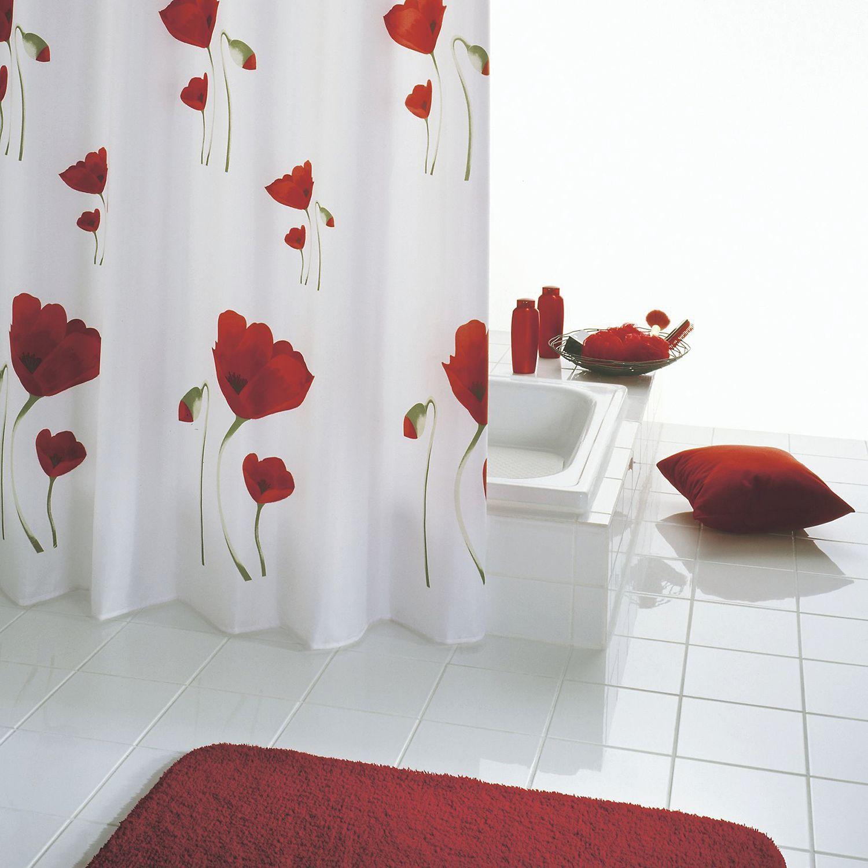 Duschvorhang Papavero Schwarzer Duschvorhang Rote Badezimmer