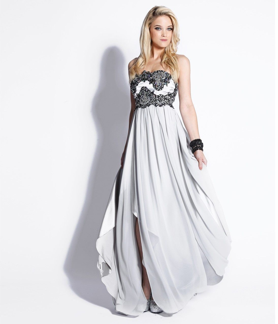 Silver & Black Embroidered Chiffon Strapless Empire Waist Dress ...