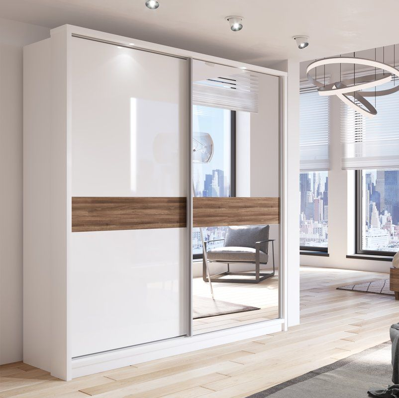 Barse 2 Door Sliding Wardrobe In White With Mirror Front Where Space Is Limited And Appe Wardrobe Door Designs Wardrobe Design Modern Wardrobe Interior Design