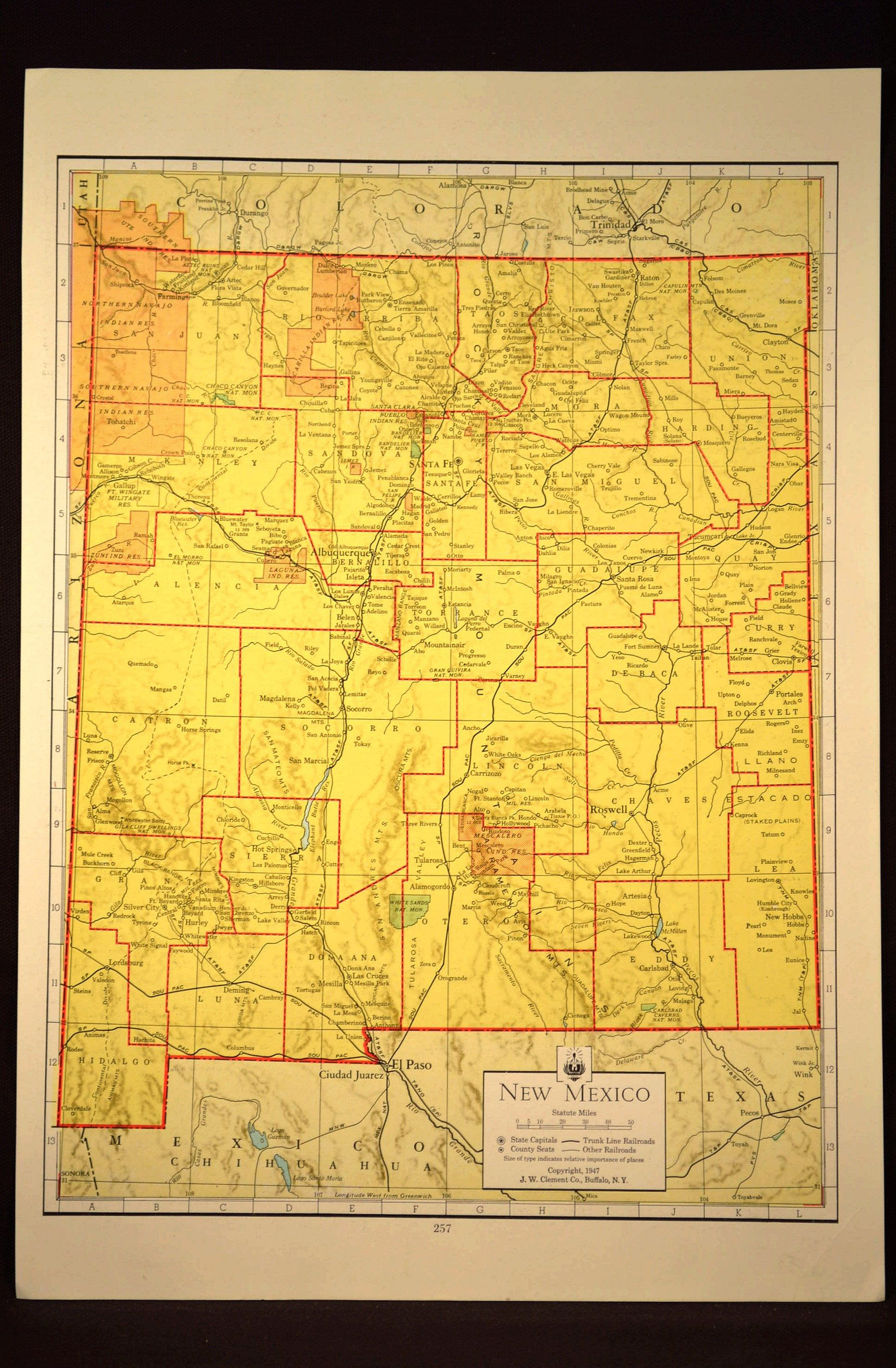 Colorful Yellow Vintage New Mexico Map New Mexico Colorful Wall Art ...